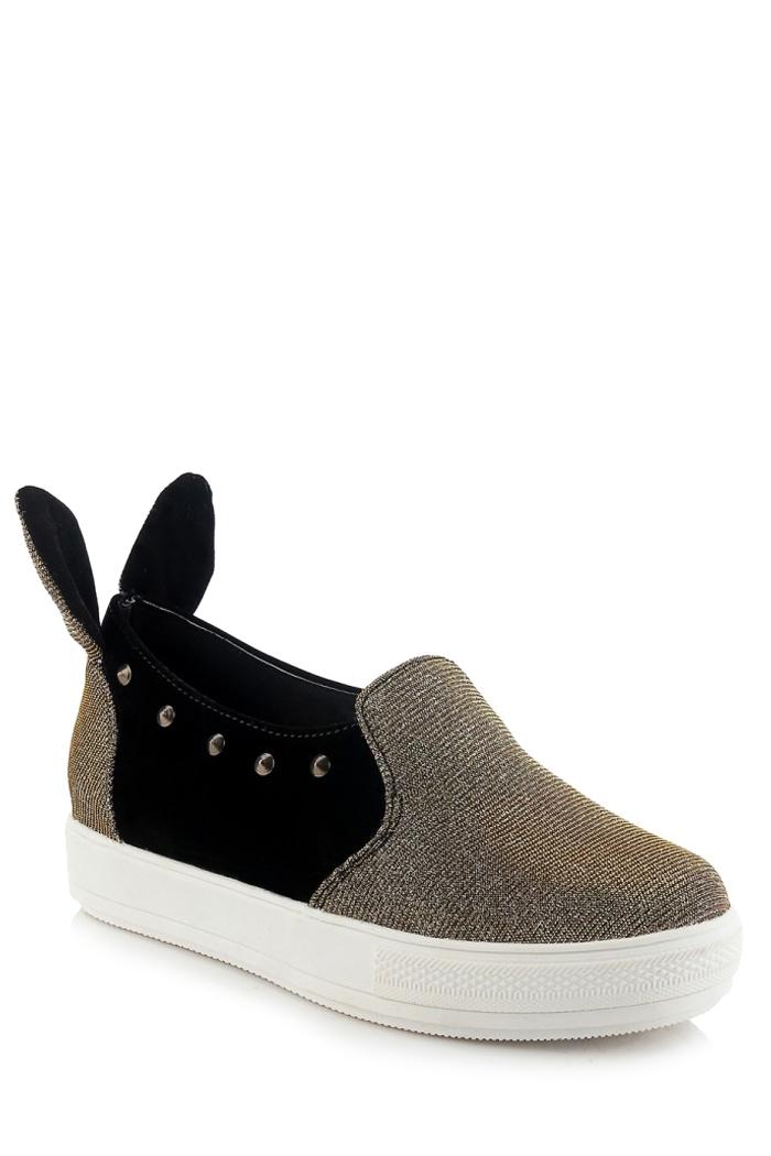 Rabbit Ears Color Block Rivets Flat ShoesShoes<br><br><br>Size: 39<br>Color: GOLDEN