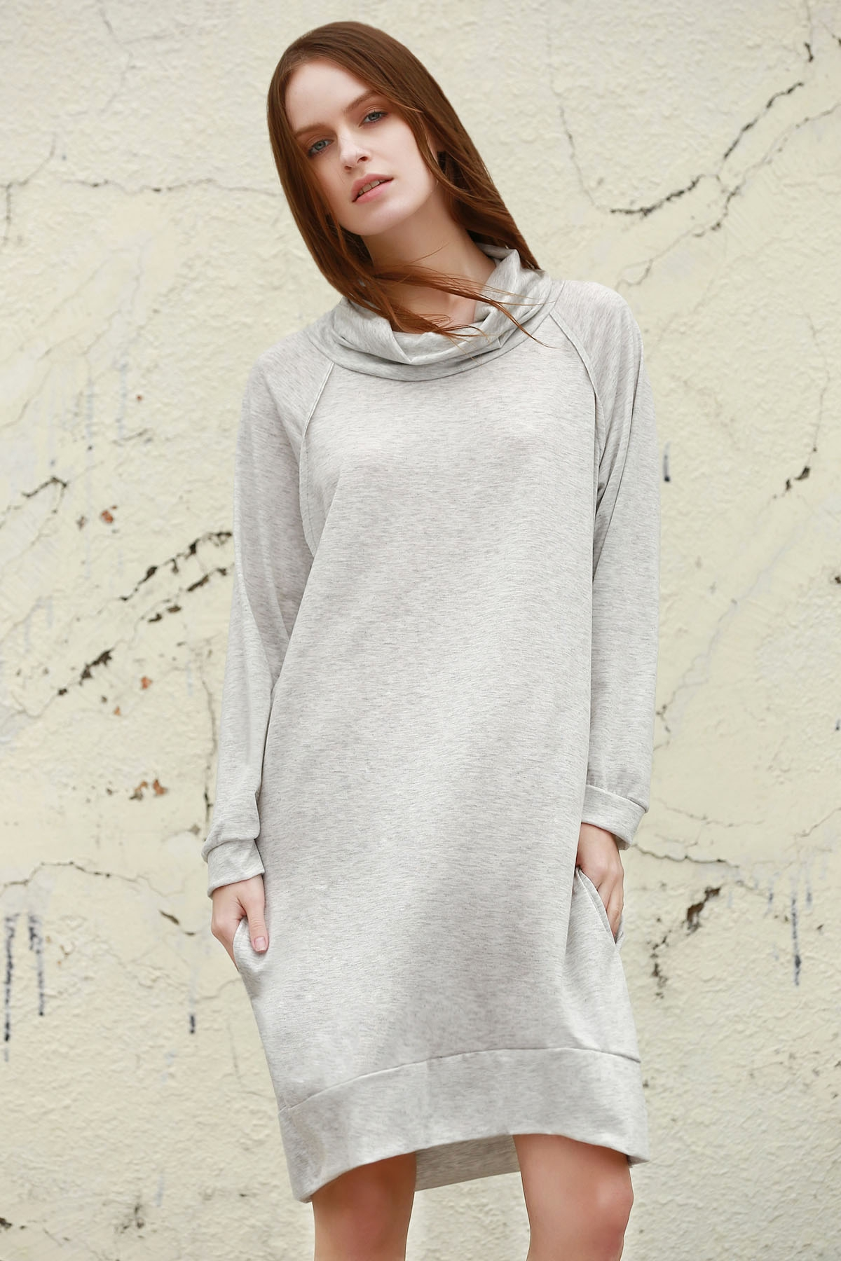 Heaps Collar Long Sleeve Loose Dress - GRAY S