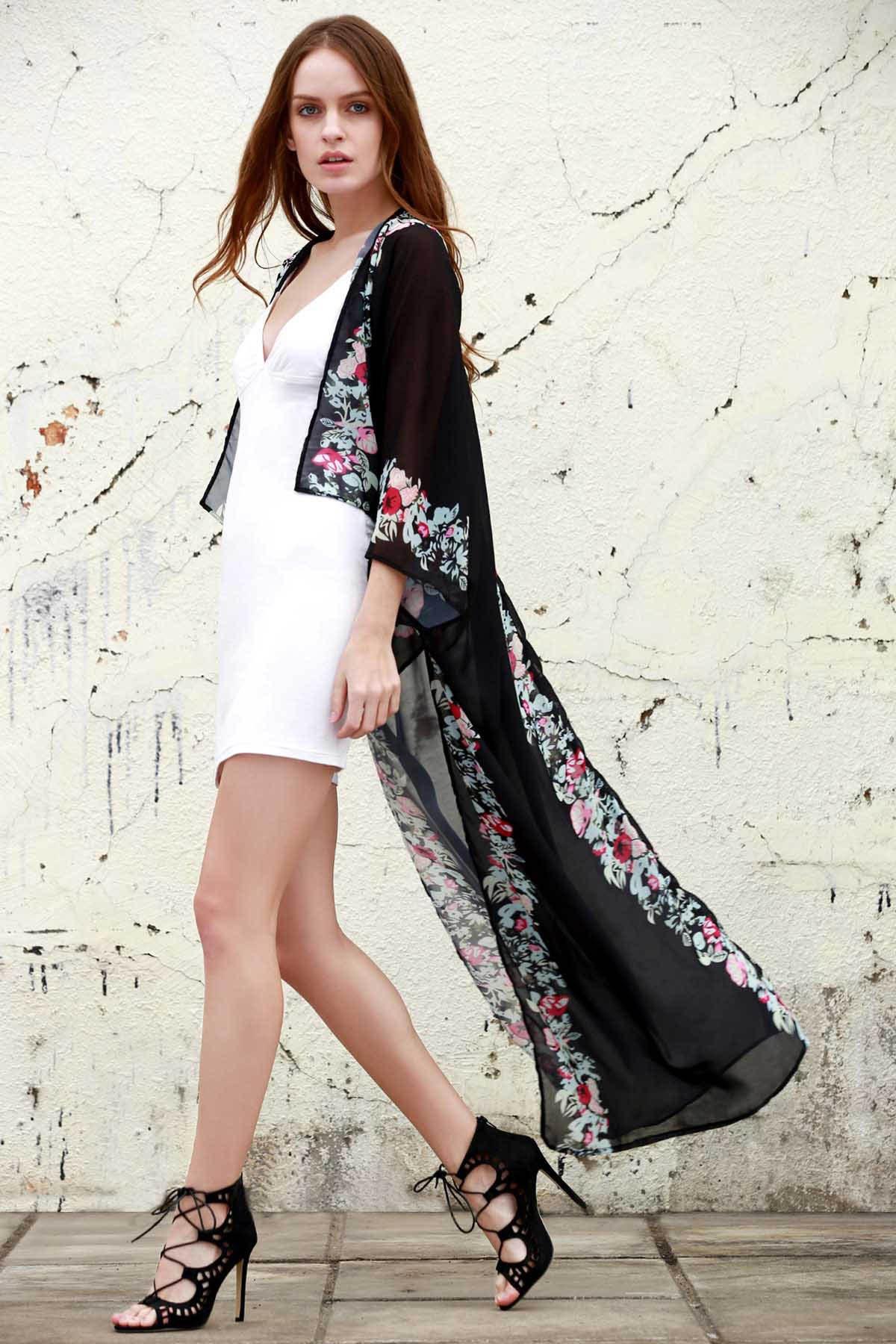 Collarless Half Sleeve Floral Chiffon Blouse