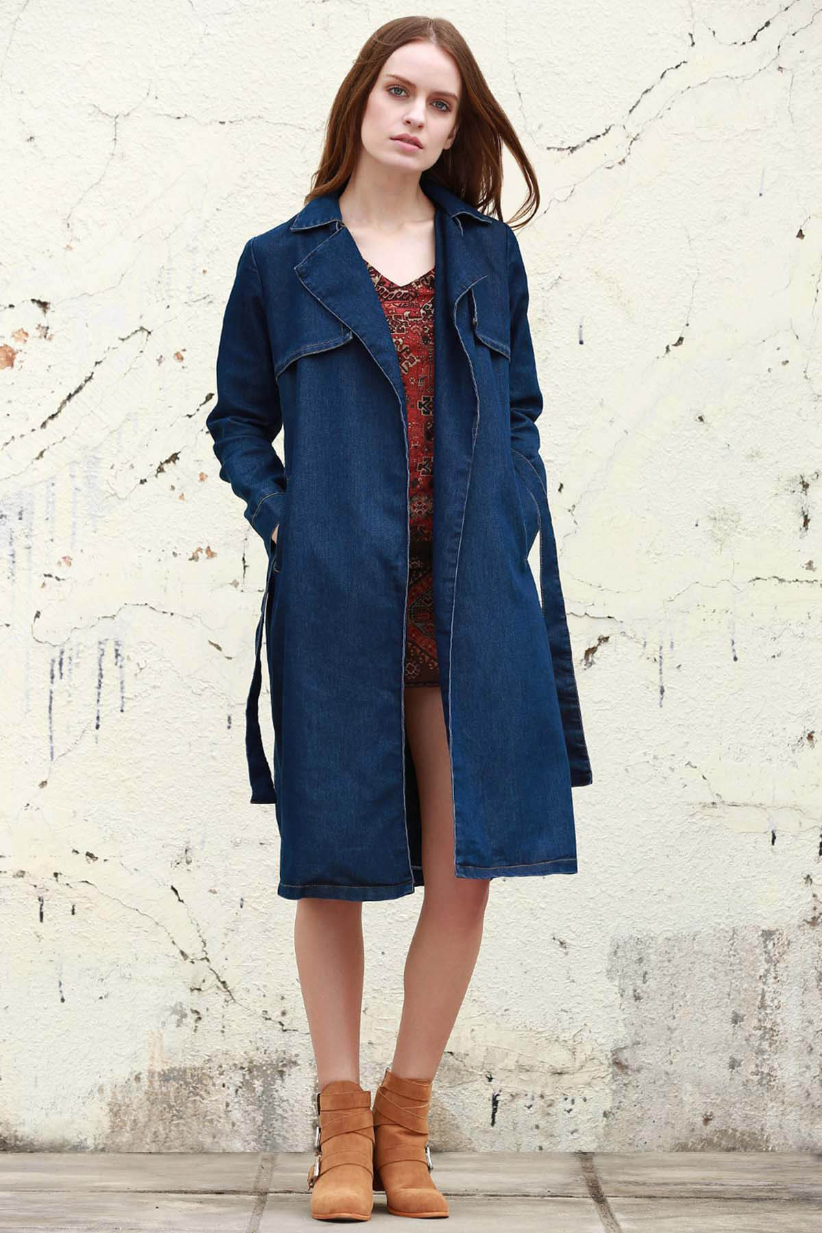 Lapel Neck Long Sleeve Denim Trench Coat