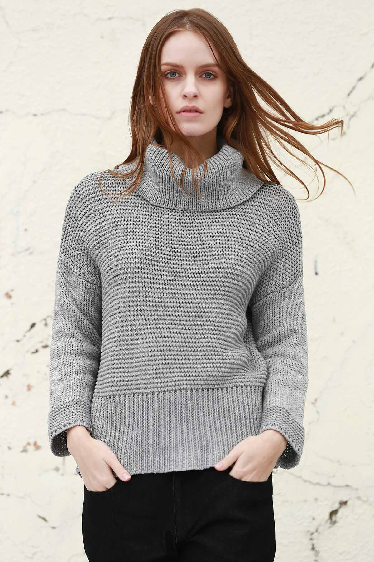 Split Turtleneck Pullover Sweater