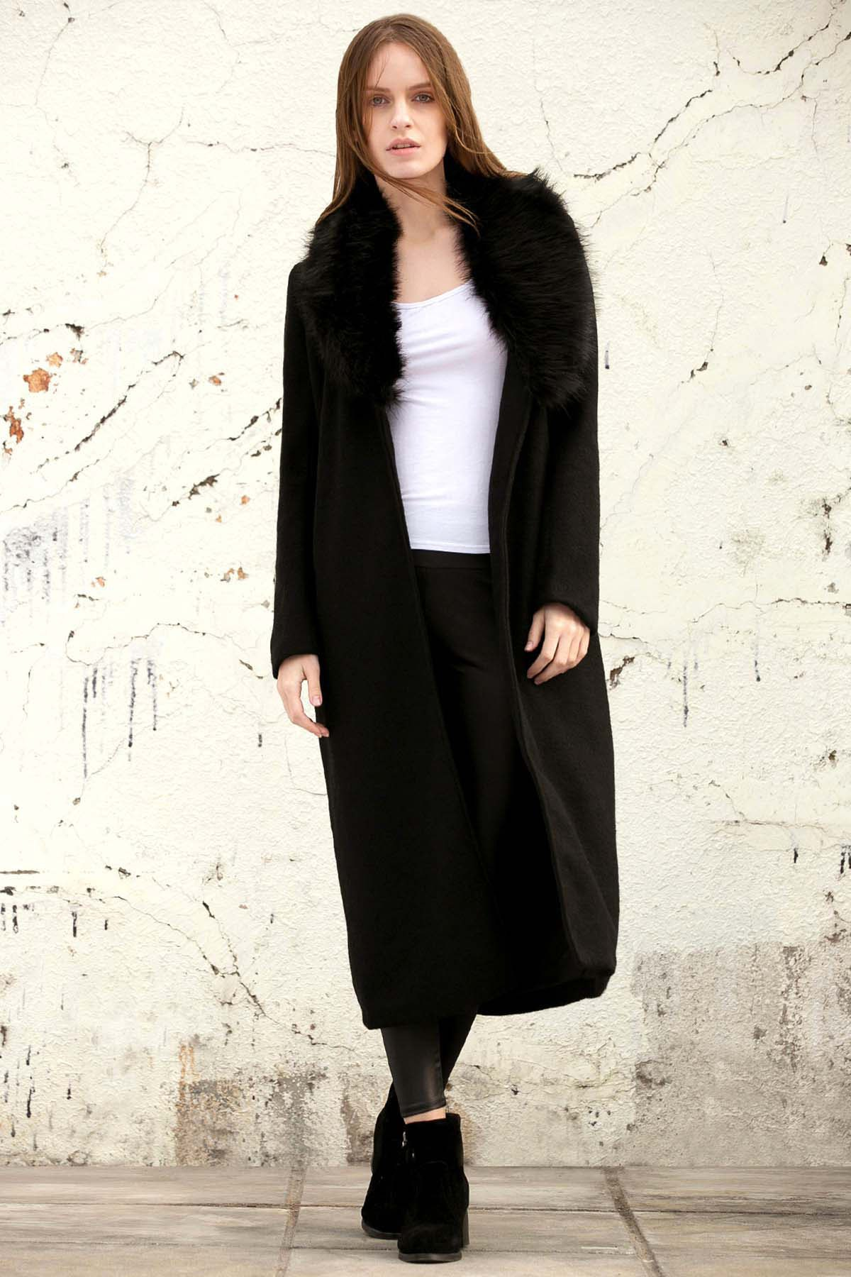 Missguided Wool with Big Fur Collar Coat