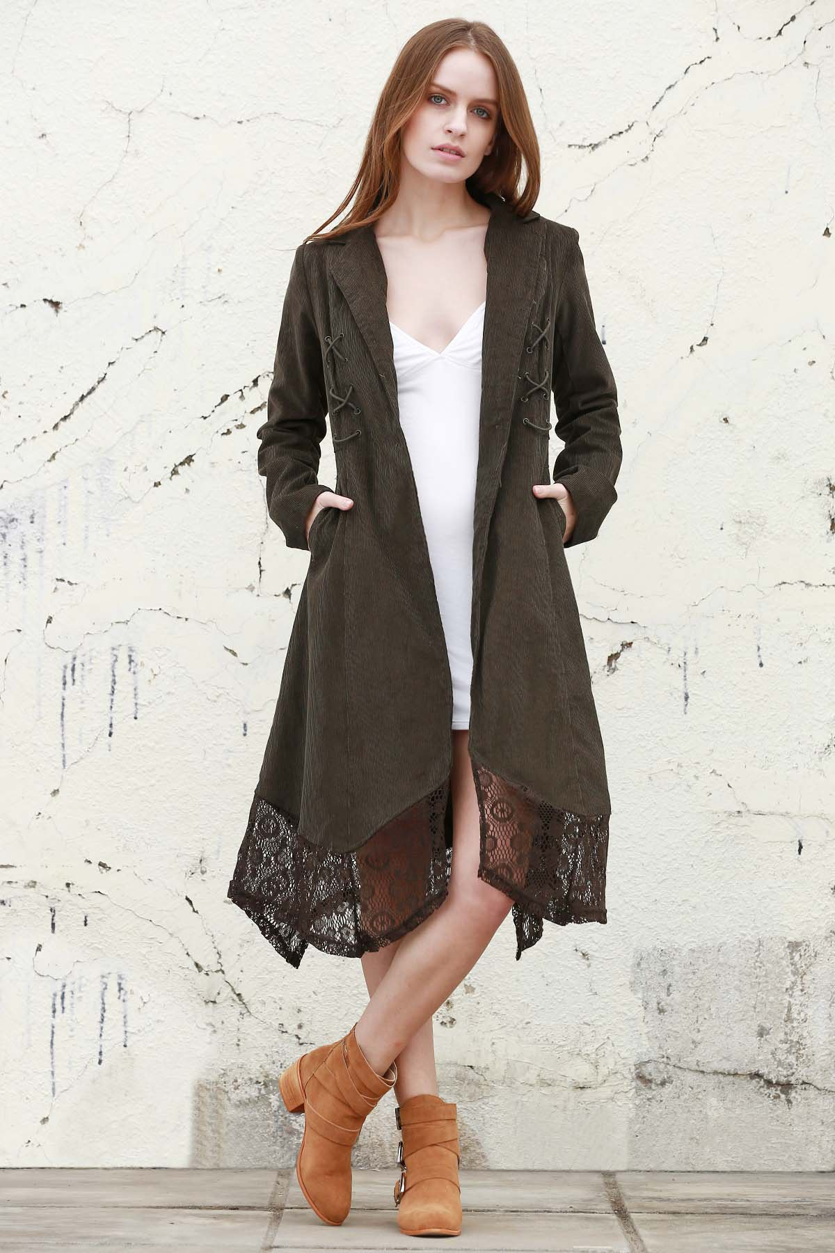 Lapel Neck Long Sleeve Lace Spliced Coat