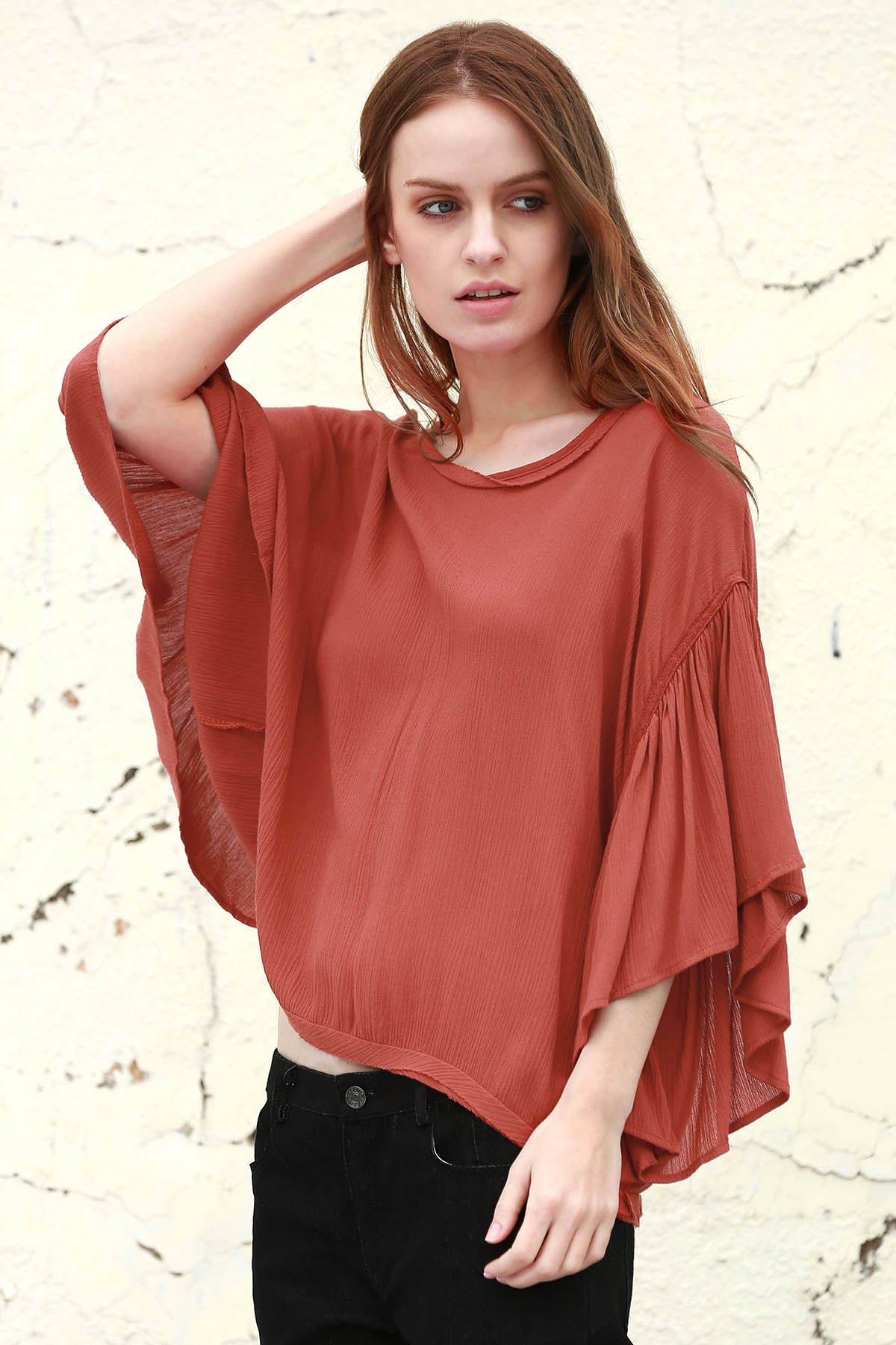 Ruffles Spliced V Neck 3/4 Sleeve Blouse