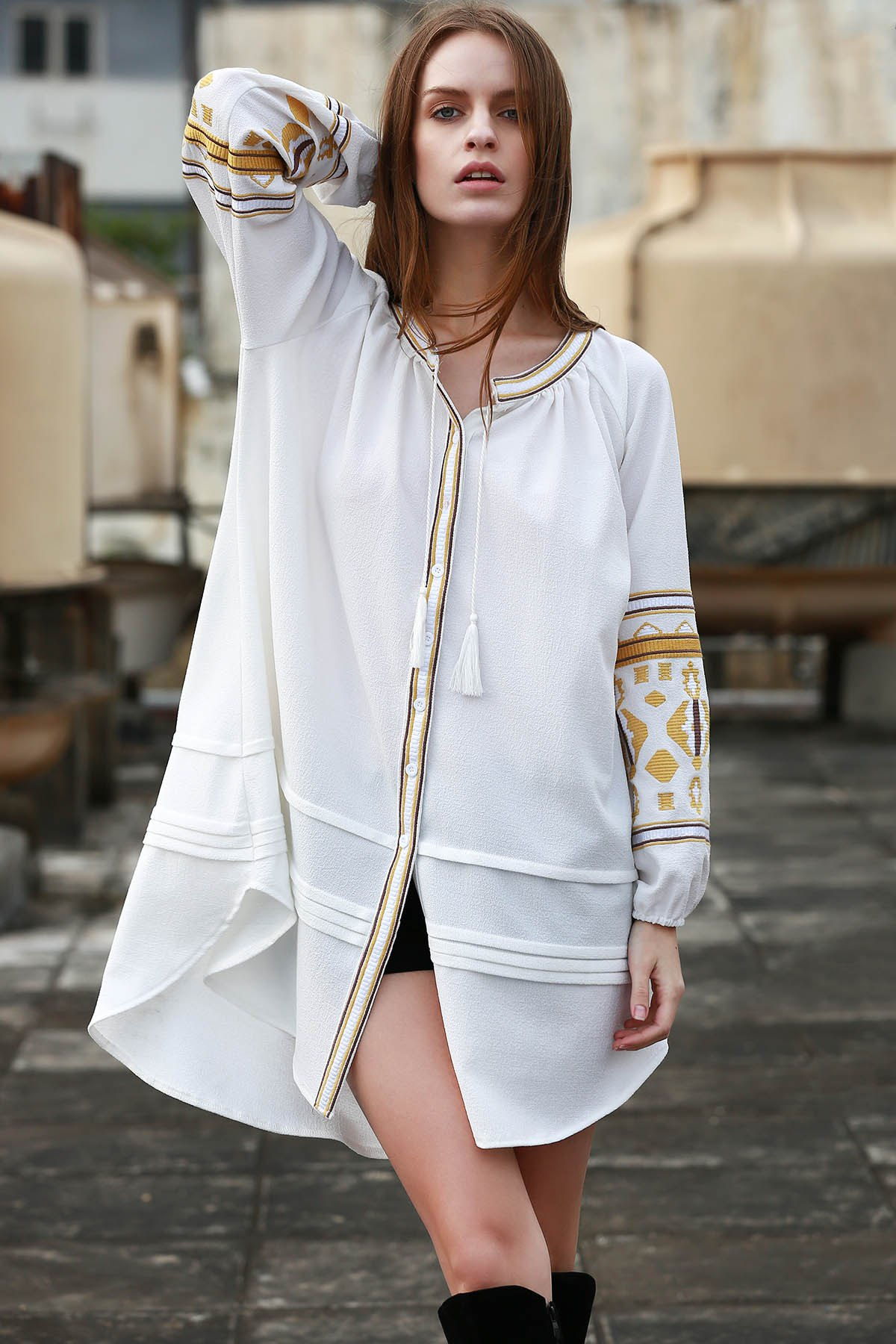 Stand Neck Long Sleeve Embroidery Dress