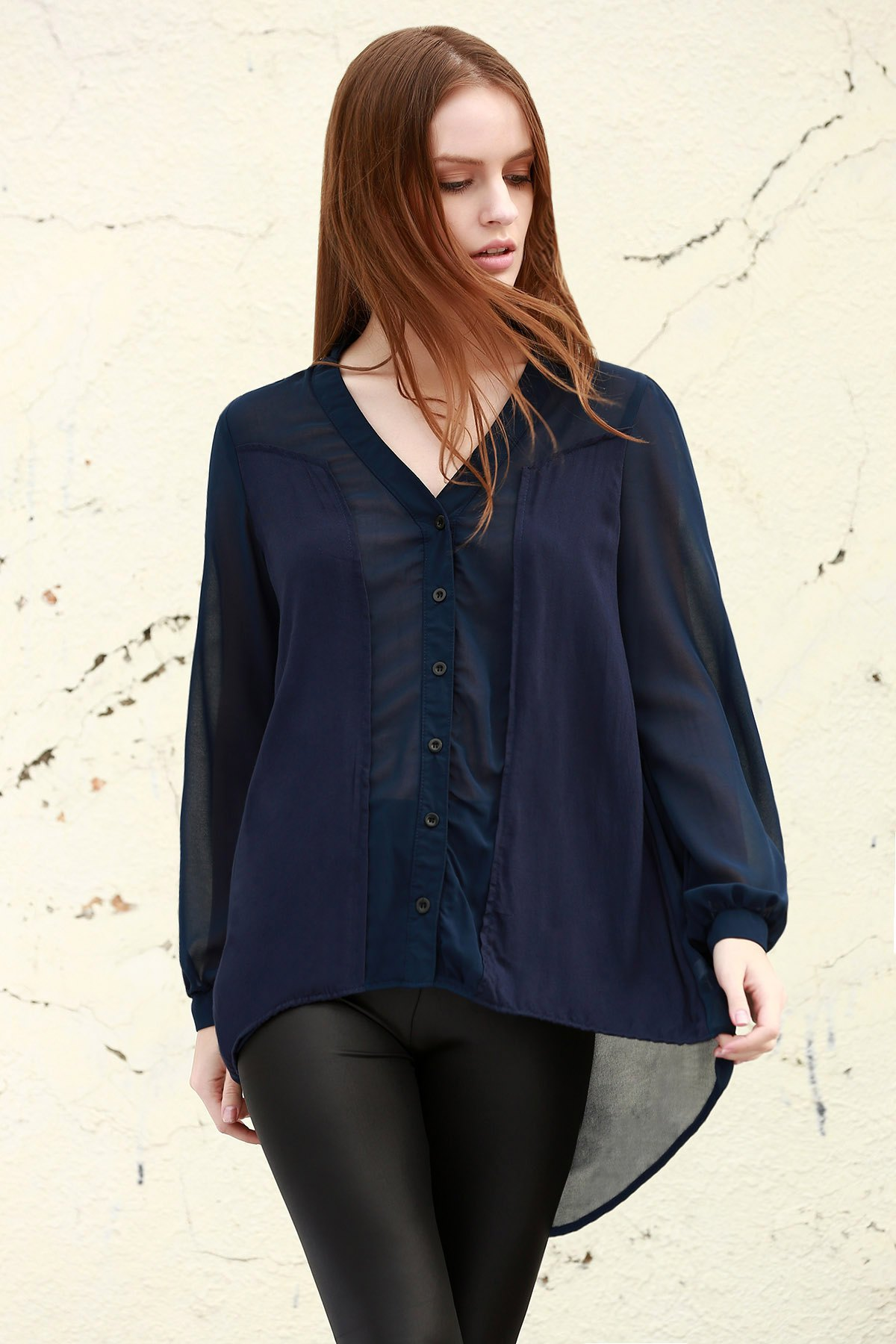 See-Through Plunging Neck Long Sleeve Blouse
