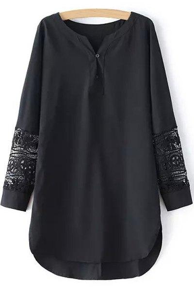 V-Neck Long Sleeve Combined Lace Long Chiffon Shirt