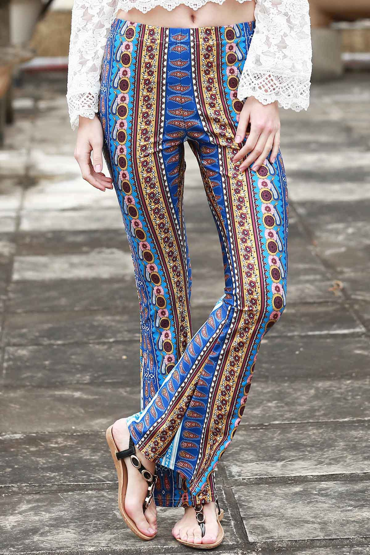 Image of Border Print Bell Pants