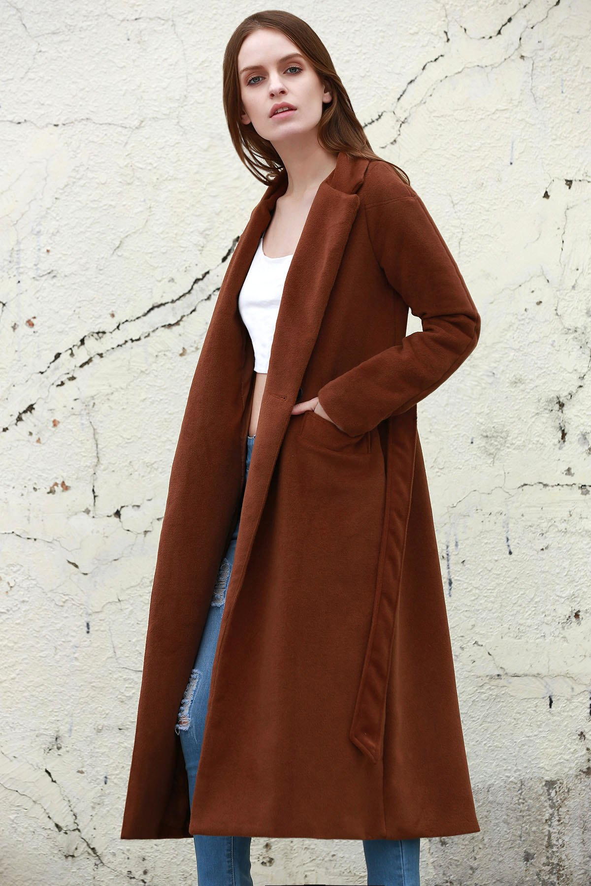 Lapel Neck Long Sleeve Solid Color Long Overcoat