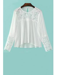 Lace Splicing Round Neck Long Sleeve Blouse - White L