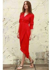High Slit V Neck Long Sleeve Dress - WATERMELON RED S