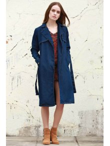 Denim Lapel Trench Coat