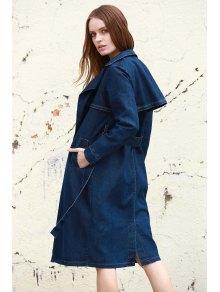 Denim Lapel Trench Coat - DEEP BLUE S