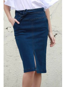Denim High Waisted Pencil Skirt - Blue L