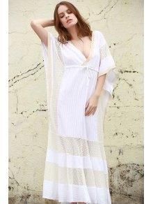 فستان غارق الرقبة شبكة لوحة ماكسي - أبيض M