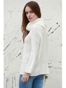 Split Turtleneck Pullover Sweater - WHITE S