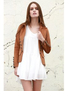 Lapel Structured Washed Blazer - LIGHT COFFEE S