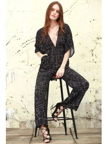 True Decadence Tall Plunge Front Palazzo Jumpsuit - BLACK S