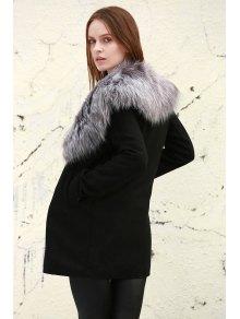 Boohoo Shawl Faux Fur Collar Coat - BLACK S