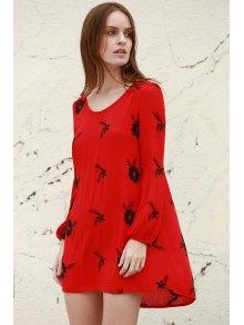 Embroidery V Neck 3/4 Sleeve Backless Dress