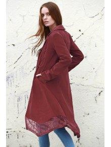 Lace Spliced Lapel Long Sleeve Coat