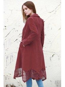 Lace Spliced Lapel Long Sleeve Coat - WINE RED S