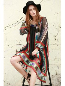 Print Chiffon Long Sleeves Tunic Dress - Black