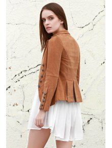 Lapel Structured Washed Blazer - Light Coffee