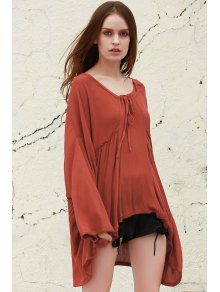 Orange Plunging Neck Long Sleeve Blouse