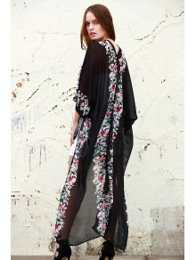 Floral Chiffon Half Sleeve Blouse - BLACK ONE SIZE(FIT SIZE XS TO M)
