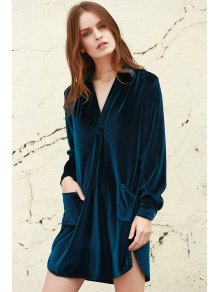 Loose Velvet Shirt Dress - Cadetblue L