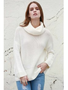 Split Turtleneck Pullover Sweater - White M