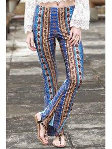 Border Imprimir Campana Pantalones - Azul