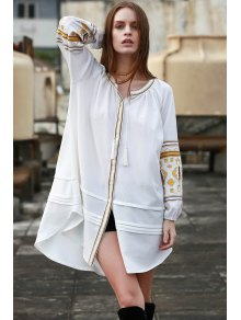 Embroidery Stand Neck Long Sleeve Dress - Off-white S
