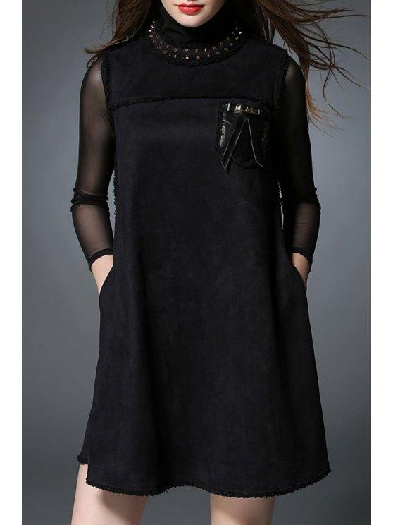 ladies Suede Mock Neck Sleeveless Tank Dress - BLACK XL
