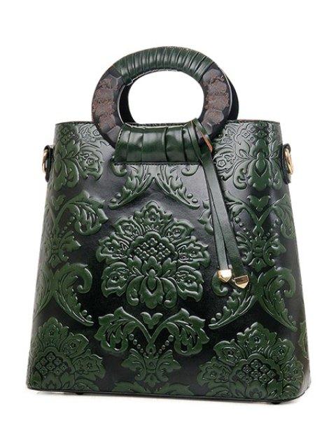 Floral gaufrage PU cuir Sac - Vert  Mobile