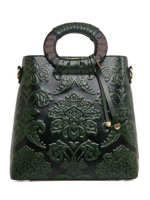 sale Floral Embossing PU Leather Tote Bag - GREEN  Mobile