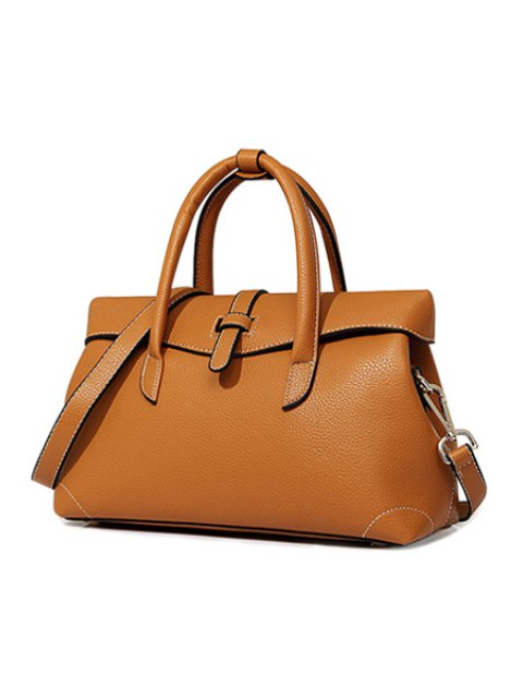 outfit Solid Color Stitching PU Leather Tote Bag - BROWN  Mobile