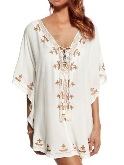 Embroidered Plunging Neck Half Sleeve Cover Up - White One Size(fit Size Xs To M)