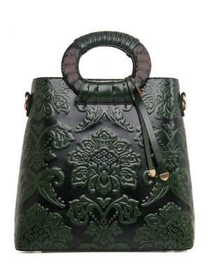 Floral Embossing PU Leather Tote Bag - Green