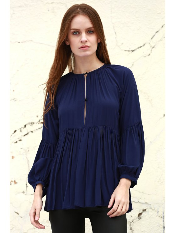 fancy Solid Color Loose Fitting Long Sleeves Blouse - DEEP BLUE XS