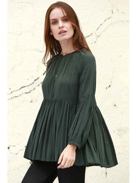 Solid Color Loose Fitting Long Sleeves Blouse - BLACKISH GREEN S Mobile