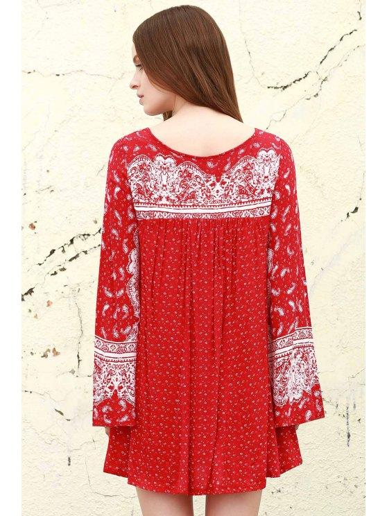 Ethnic Print V Neck Long Sleeve Dress - RED XS Mobile