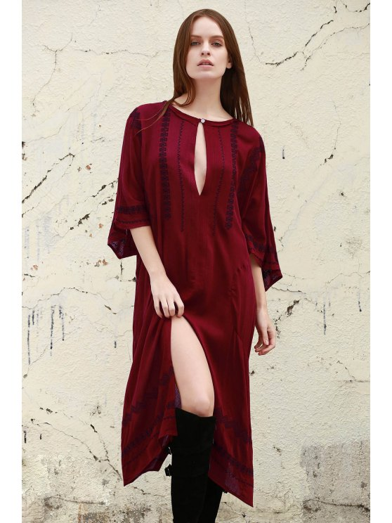 new Embroidery Scoop Collar 3/4 Sleeve Dress - WINE RED S