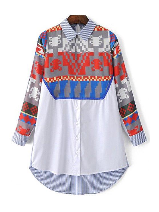 Imprimé col de chemise à manches longues - Bleu clair L