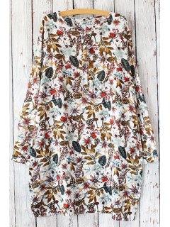 Long Sleeve Full Leaf Loose Fit Dress - Yellow