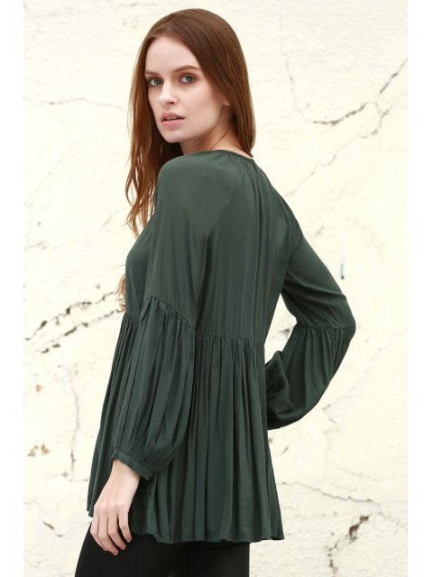 buy Solid Color Loose Fitting Long Sleeves Blouse - BLACKISH GREEN XS Mobile