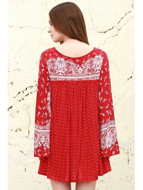 shops Ethnic Print V Neck Long Sleeve Dress - RED XS Mobile