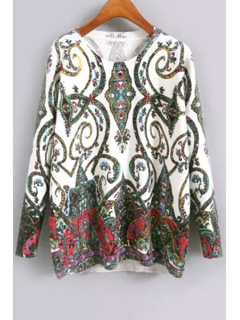 trendy Long Sleeve Green Floral Jumper - GREEN L Mobile