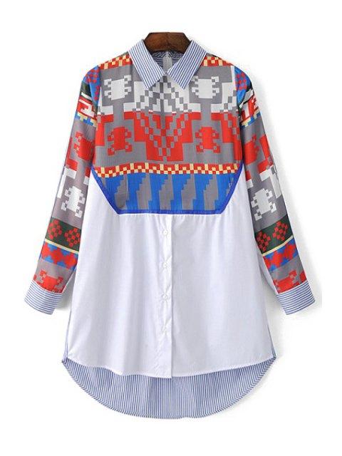lady Printed Shirt Collar Long Sleeve Shirt - LIGHT BLUE L Mobile
